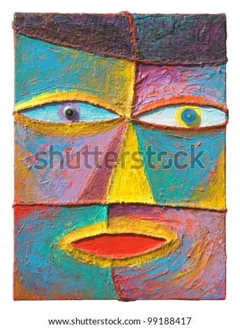 Face 12. Original acrylic painting on canvas.