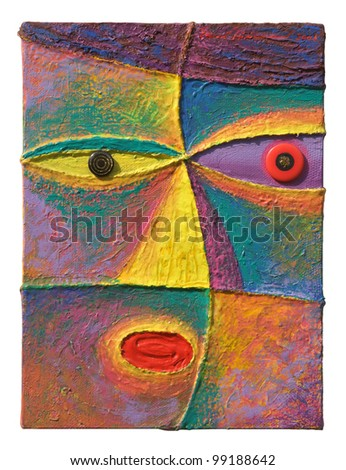 Face 9. Original acrylic painting on canvas.