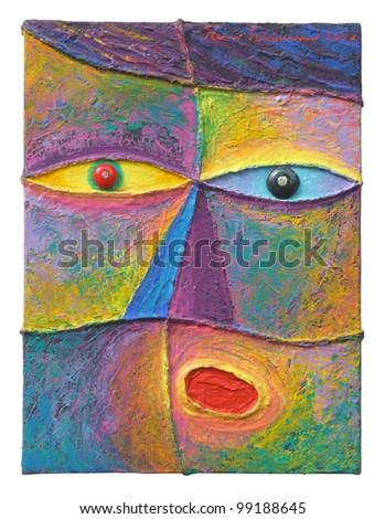 Face 11. Original acrylic painting on canvas.