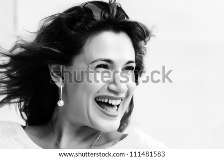 face portrait of a beautiful 35 years old woman