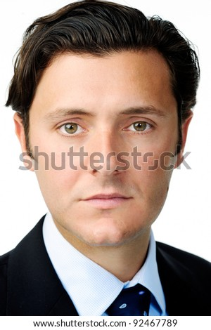 Face portrait of a caucasian businessman isolated on white