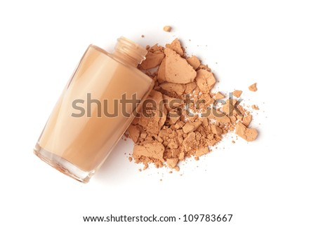 face powder and liquid foundation bottle