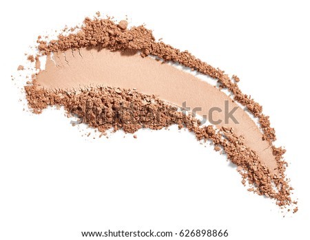 Face powder stroke isolated on white background