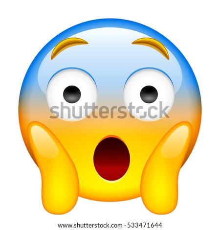 Face Screaming in Fear. Screaming in Fear Emoji. Smile Screaming in Fear Emoticon. Isolated illustration on white background