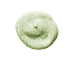Face scrub cream texture. Green cosmetic exfoliation cleanser round blob isolated on white background. Facial mask sample. Natural spa treatment, skincare routine