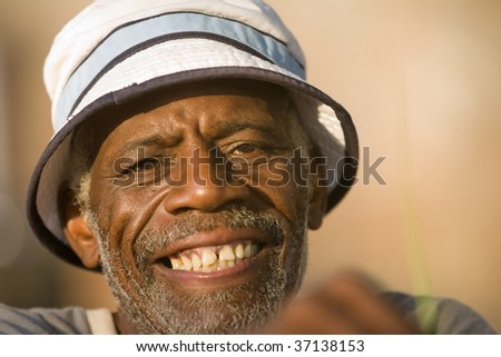 Face shot of retired african american man smiling