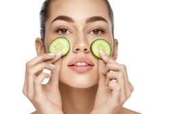Face Skin Care. Beautiful Woman With Healthy Skin