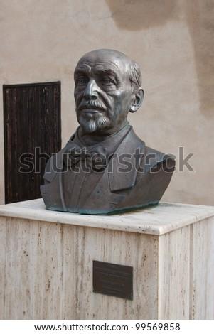 face statue of Luigi Pirandello - stock photo