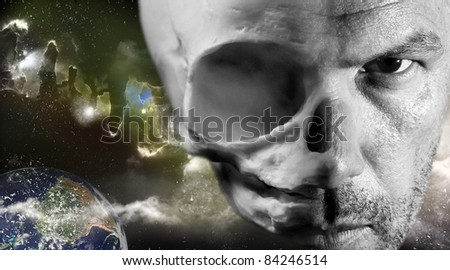 Face with half skin and half alien skull bone visible scary Halloween concept