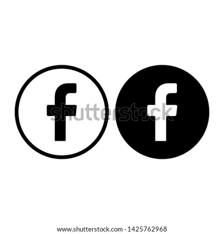 "Facebook icon vector illustration.Facebook social media vector icon.""f""letter typographic symbol."