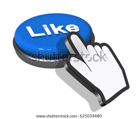 facebook press like button hand - 3d rendering
