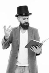 Faced with senseless drama. Eloquence and diction. Bearded man read book. Poetry reading. Book presentation. Literature teacher. Books shop. Guy classic outfit read book. Literary criticism.