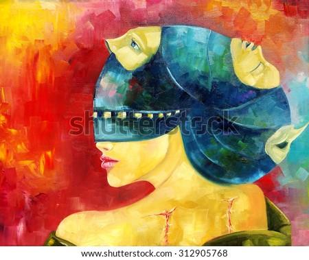 Stock Photo Faceless fallen angel. Oil painting. Raster.