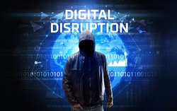 Faceless hacker at work with DIGITAL DISRUPTION inscription, Computer security concept