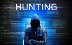 Faceless hacker with HUNTING inscription on a binary code background