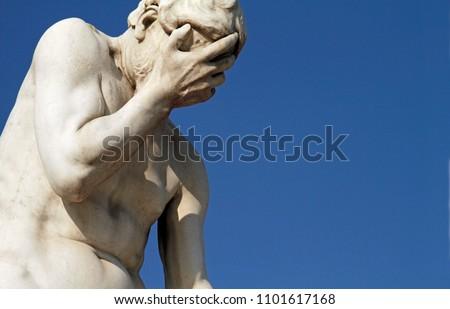 Facepalm statue in Paris, France