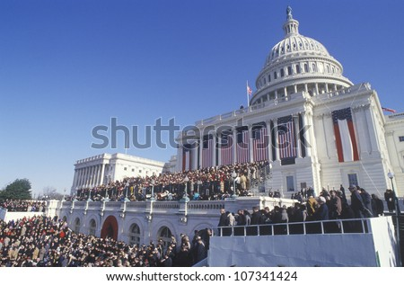 Faces in the crowd on Bill Clinton's Inauguration Day January 20, 1993 in Washington, DC
