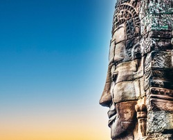 Faces of Bayon temple in Angkor Thom, Siemreap, Cambodia.