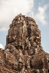 Faces of Bayon temple in Angkor Thom, Siemreap, Cambodia