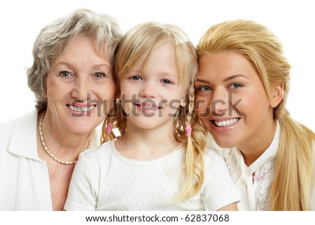 Faces of grandmother with adult daughter and grandchild in line