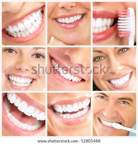 Faces of smiling people Healthy teeth Smile