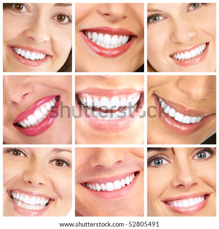 Faces of smiling people. Healthy teeth. Smile