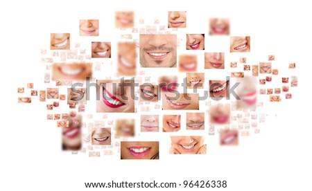 Faces of smiling people in set Healthy teeth Smile