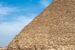 faces of the great pyramid. egypt, giza. masonry of the great Egyptian pyramid. stone blocks on the edge of the great pyramid