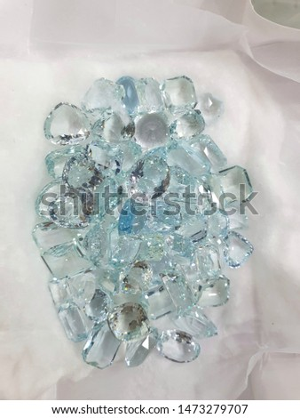 faceted aquamarine gemstones from the beryl family of minerals, Sri Lanka. #1473279707
