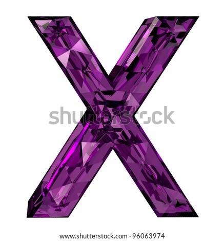 Faceted 3d diamond font x