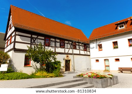 fachwerk house in germany blue sky