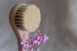 Facial massage brush with natural bristles on a linen background with bark and pink gypsophila flowers. eco friendly cosmetics concept..