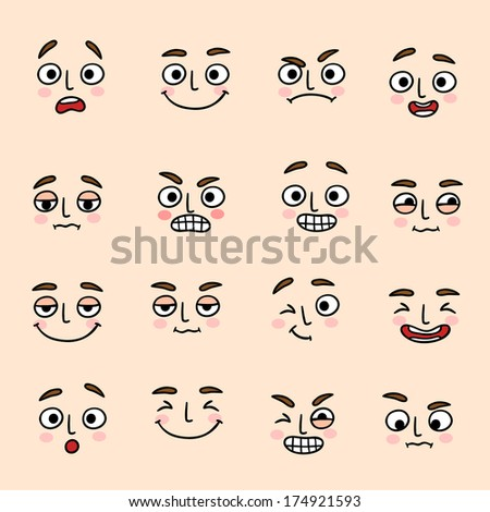 Facial mood expression icons set of laugh fun and happiness isolated  illustration #174921593