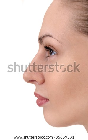 facial profile of young woman close up
