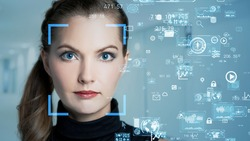 Facial recognition concept. Biometrics. Security system. Personal information.