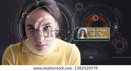 Facial Recognition System. Biometric verification face detection.