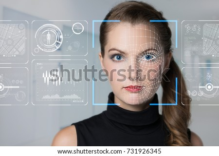 Facial Recognition System concept. Face Recognition. 3D scanning.