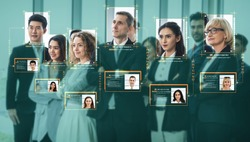 Facial recognition technology scan and detect people face for identification . Future concept interface showing digital biometric security system that analyze human face to verify personal data .