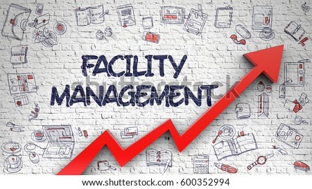 Facility Management Drawn on White Brick Wall.