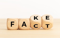 Fact or Fake concept. Wooden blocks with text. Copy space