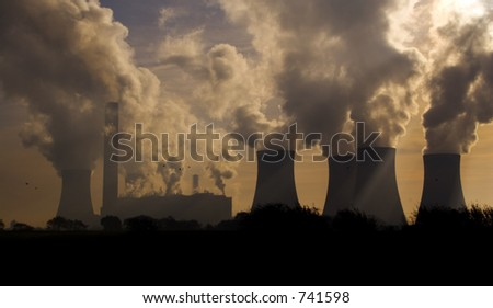 Factories and power station belching pollution.