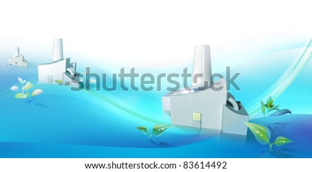 Factories working as a green tech cluster - stock photo