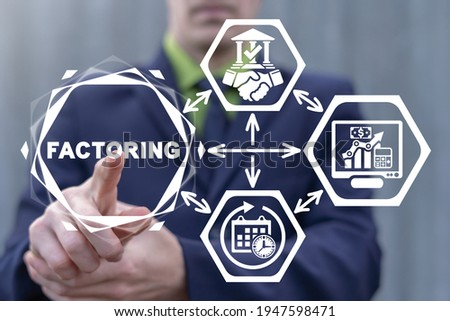 Factoring Business Finance Concept. Factor using virtual touch screen clicks on factoring word. Foto stock ©