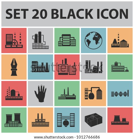 Factory and facilities black icons in set collection for design. Factory and equipment bitmap symbol stock web illustration.
