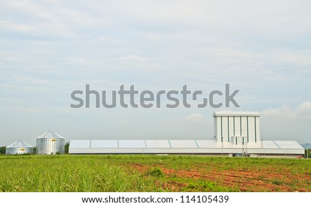 factory and farm,sky - stock photo