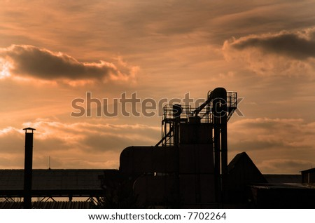 Factory at sunset