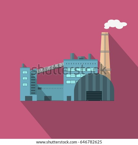 Factory building with pipes in flat. Industrial plant with pipes. Plant with smoking chimneys. Factory icon. illustration with long shadow.
