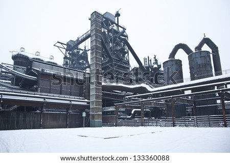 factory in snow