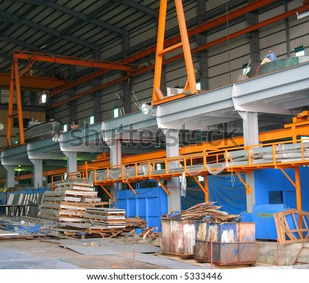 Factory Interior -- this is a small ship building wharf