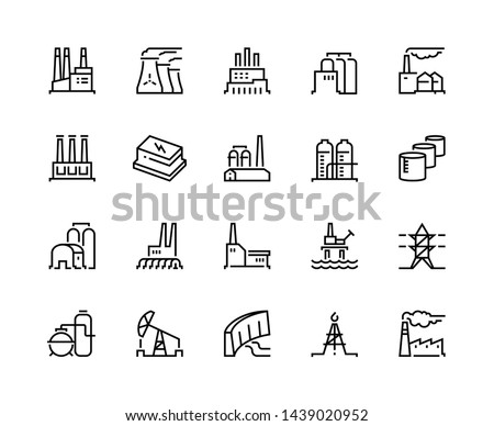 Factory line icons. Industry power, chemical manufacturing building warehouse nuclear energy plant. Industrial factories  set